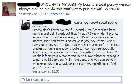 critique travail sur facebook