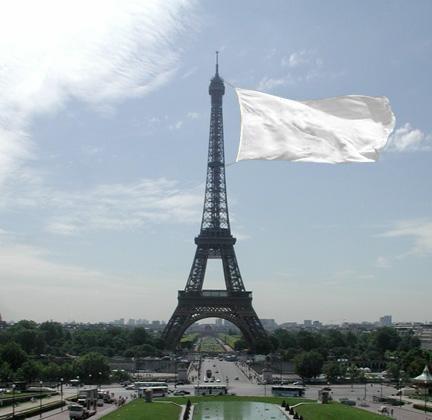 tour eiffeil white flag