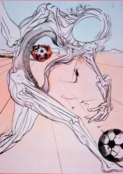 Dali, Salvador ; 1904ñ1989. ìFootballeurî, v. 1980. Technique mixe.