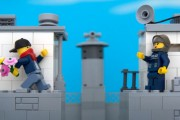 Lego Banksy bouquet thrower