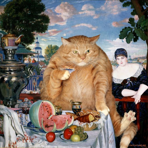 Kustodiev_Boris_-_Merchants_Wife_at_Tea_-cat-w_resultat