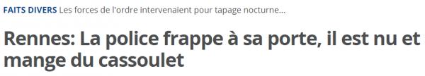 Rennes  La police frappe à sa porte  il est nu et mange du cassoulet   20minutes.fr
