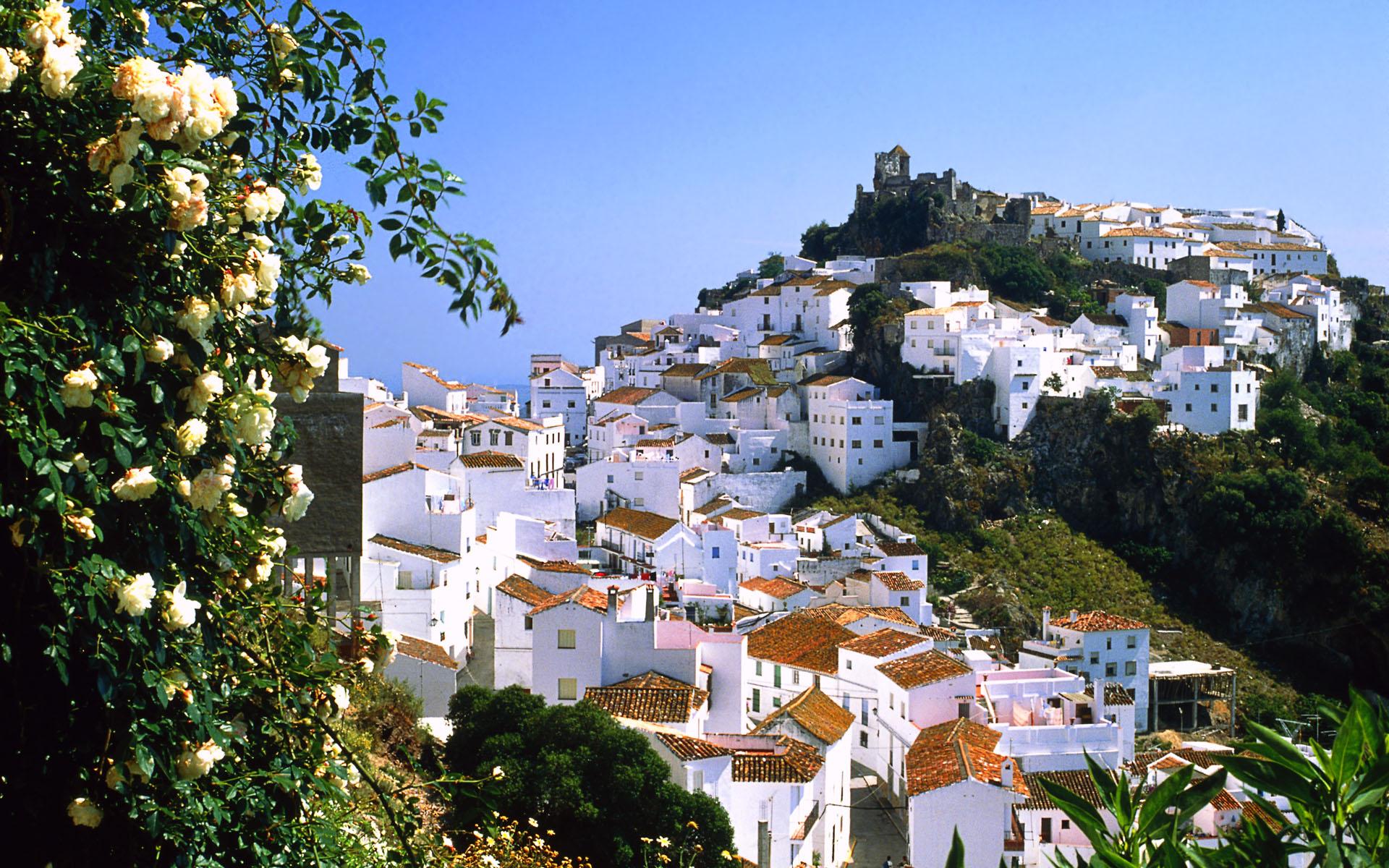 Look at the mountain village Casares, Malaga, Spain