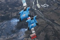 Justin Duclos and Carson Klein of the United States perform during the Red Bull Aces, a wingsuit four cross race, in Cloverdale, California, United States on November 24, 2015. // Ryan Sawyers / Red Bull Content Pool // VIN: SI201510250258 // Usage for editorial use only // Please go to www.redbullcontentpool.com for further informations. //