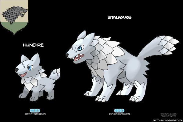 Quand Pokémon rencontre l'univers de Game of Thrones A_song_of_red_and_blue__stark_by_sketch_bgi-da53672-600x398
