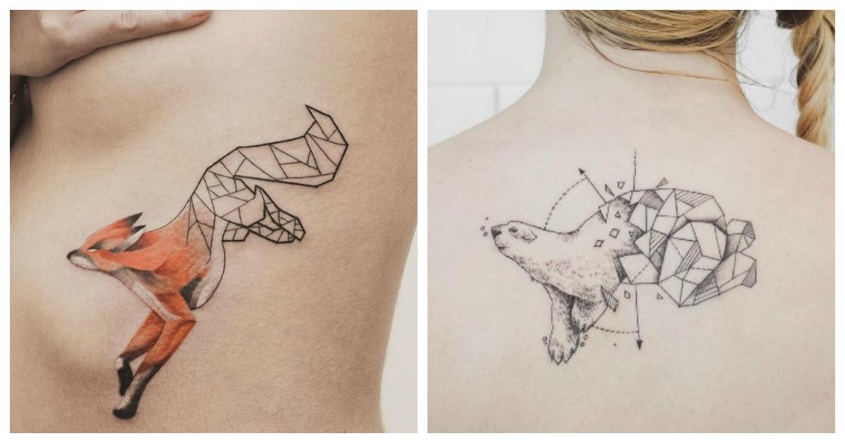 Top 10 des tatouages g om triques de jasper andres pour les amis des b tes topito - Tatouage geometrique animaux ...