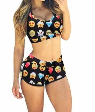 SUNNOW® Femme-Fille Bikini Maillots de Bain Rembourré 2 pièces Dessin Imprimé Emoji soutien-gorge Push-up Shorty- Amazon.fr- Vêt