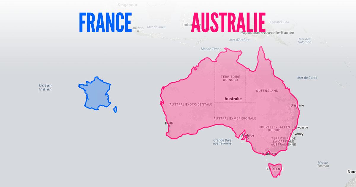 Carte Australie Chine.Top 10 Des Cartes Pour Se Rendre Compte De La Vraie Taille Des Pays