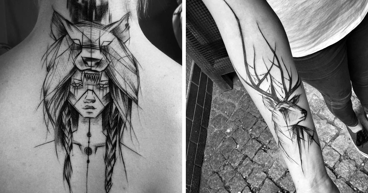 Croquis Tatouage top 17 des tatouages façon croquis d'inez janiak, c'est beaucoup