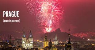 Prague new year 2016 fireworks over Prague Old Town panorama