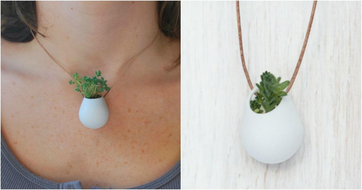 une petite plante verte porter autour du cou topito. Black Bedroom Furniture Sets. Home Design Ideas