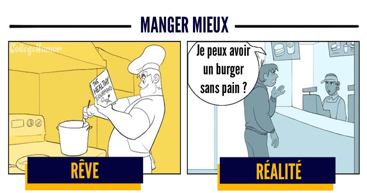 Top 6 des illustrations honnêtes sur les régimes, rêve vs réalité