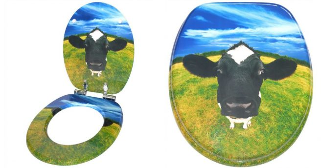 un abattant de wc avec une jolie vache topito. Black Bedroom Furniture Sets. Home Design Ideas
