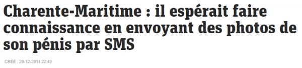 Charente Maritime   il espérait faire connaissance en envoyant des photos de son pénis par SMS – metronews