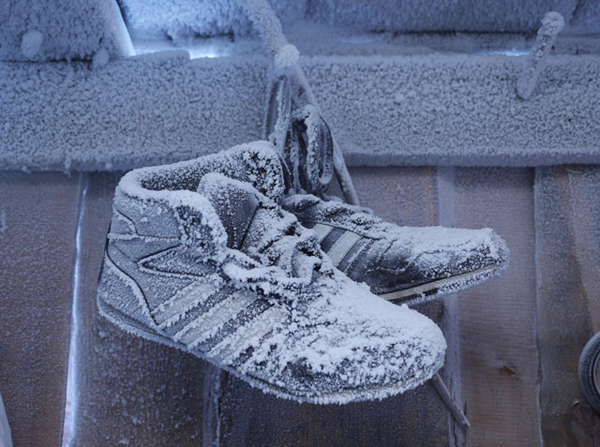 Summer shoes waiting out the winter in a shed in the suburbs.