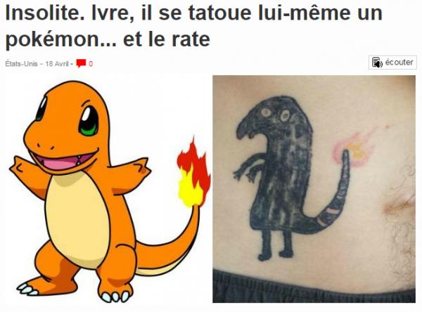 Insolite. Ivre  il se tatoue lui même un pokémon... et le rate