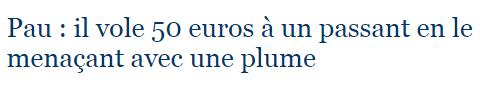 Pau   il vole 50 euros à un passant en le menaçant avec une plume   LaRepubliquedesPyrenees.fr
