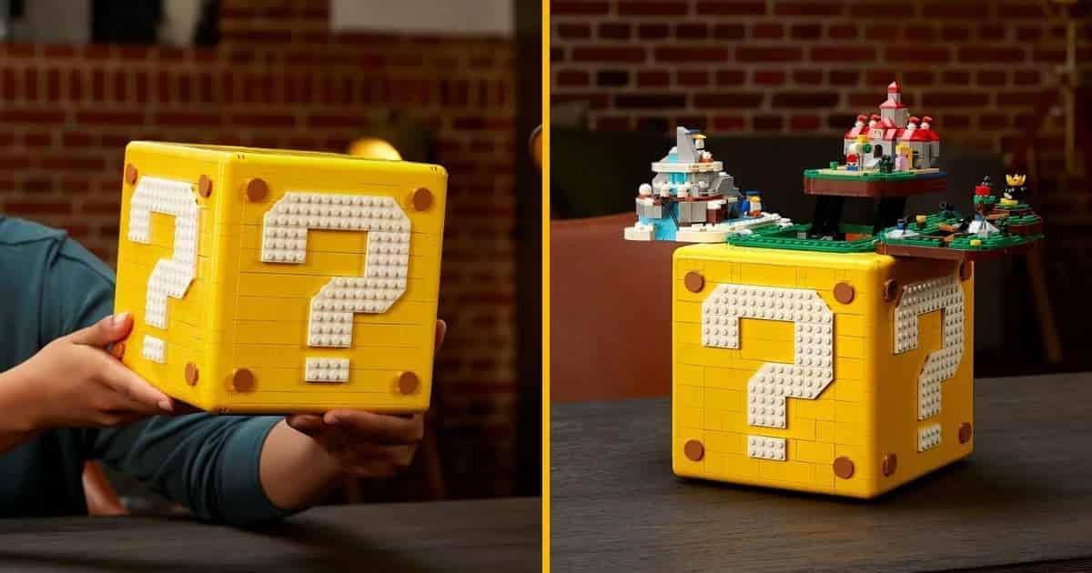 Un bloc d'interrogation Super Mario en LEGO